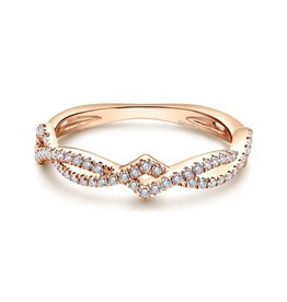 Gabriel & Co Gabriel & Co 14K Rose Gold Twisted Diamond Stackable Ring