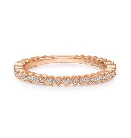 Gabriel & Co Gabriel & Co 14K Rose Gold Scalloped Stackable Diamond Band