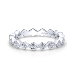 Gabriel & Co Gabriel & Co 14k White Gold Contoured Diamond Zig Zag Stackable Ring