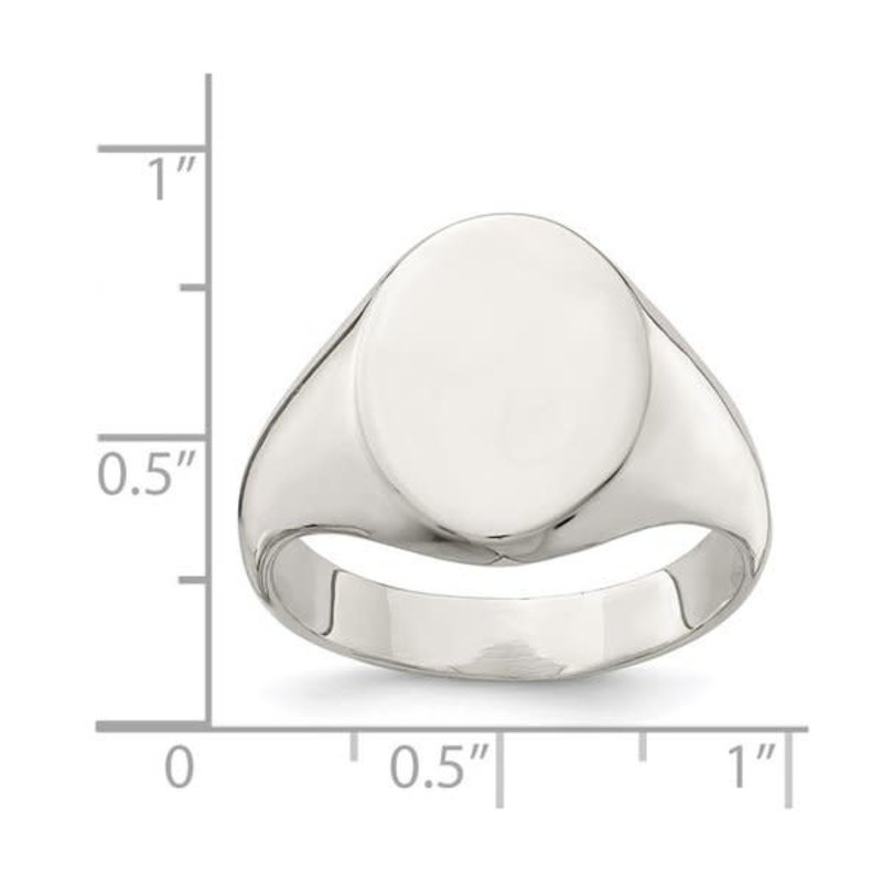 Sterling Silver Mens Closed Back Oval Signet Ring