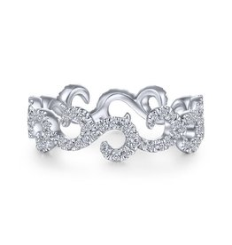Gabriel & Co 14k White Gold Eternity Diamond Stackable Ladies Ring
