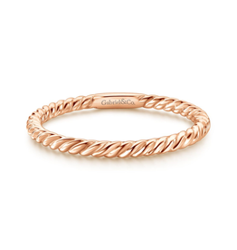 Gabriel & Co Gabriel & Co 14K Rose Gold Twisted Rope Stackable Ring