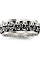 Sterling Silver Mens Spinning Antiqued Skull Ring