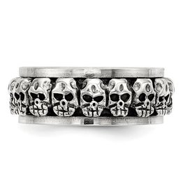 Sterling Silver Mens Spinning Antiqued Skull Ring