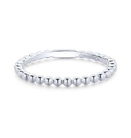 Gabriel & Co Gabriel & Co 14K White Gold (1.70mm) Bujukan Beaded Stackable Ring