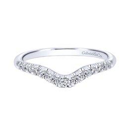 Gabriel & Co Gabriel & Co 14K White Gold Curved French Pavé Diamond Wedding Band