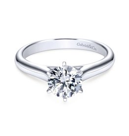 Gabriel & Co Allie14k White Gold Round Solitaire