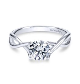 Gabriel & Co Gabriel & Co Kylo 14K White Gold Round Diamond Twisted Solitaire Semi Mount Engagement Ring