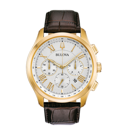 Bulova Bulova Classic Mens Chronograph Yellow Tone Brown Leather Strap Watch