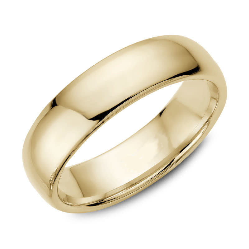 Yellow Gold (6mm) Dome Band Size 3 to 13 (10K, 14K, 18K)
