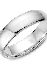 White Gold (6mm) Dome Band Size 3 to 13 (10K, 14K, 18K)