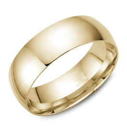 Yellow Gold (7mm) Dome Band Size 3 to 13 (10K, 14K, 18K)