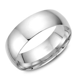 White Gold (7mm) Dome Band Size 3 to 13 (10K, 14K, 18K)