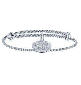 Gabriel & Co Adjustable Twisted Cable Stainless Steel Bangle with Sterling Silver Faith Charm