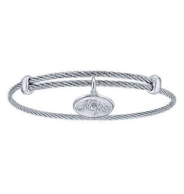 Gabriel & Co Adjustable Twisted Cable Stainless Steel Bangle with Sterling Silver Hope Charm