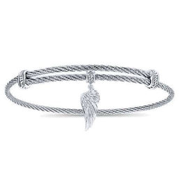 Gabriel & Co Adjustable Twisted Cable Stainless Steel Bangle with Sterling Silver Angel Wing Charm