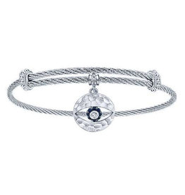 Gabriel & Co Adjustable Twisted Cable Stainless Steel Bangle with Sterling Silver Sapphire Evil Eye Charm