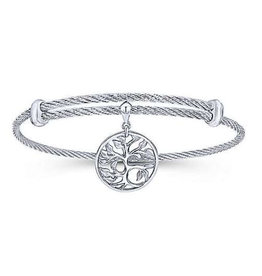 Gabriel & Co Adjustable Twisted Cable Stainless Steel Bangle with Sterling Silver Tree of Life Charm