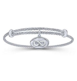 Gabriel & Co Adjustable Twisted Cable Stainless Steel Bangle with Sterling Silver Infinity Charm