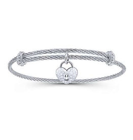 Gabriel & Co Adjustable Twisted Cable Stainless Steel Bangle with Sterling Silver Heart Lock Charm
