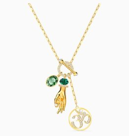 Swarovski Swarovski Symbolic Hand, Om Pendant, Green, Gold Tone