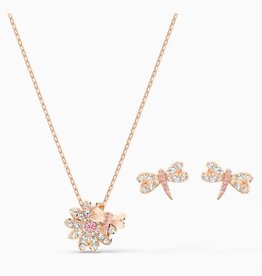 Swarovski Swarovski Eternal Flower Dragonfly Set, pink, Rose Gold Tone Plated