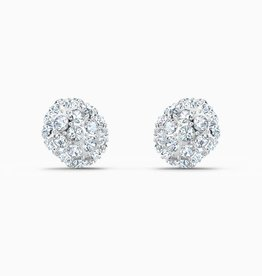 Swarovski Swarovski So Cool Stud Pierced Earrings, White, Rhodium Plated