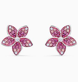 Swarovski Swarovski Tropical Flower Pierced Earrings, Pink, Rhodium Plated