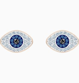 Swarovski Swarovski Symbolic Evil Eye Stud Pierced Earrings, Blue, Rose Gold Plated