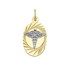 10K Yellow and White Gold Oval Medical ID Pendant