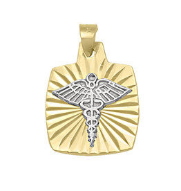10K Yellow and White Gold Medical ID Pendant
