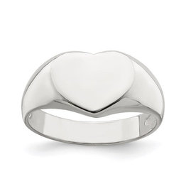 Sterling Silver Ladies Heart Signet Ring