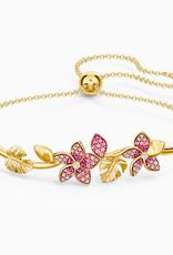 Swarovski Tropical Flower Bangle, Pink, Gold-Tone Plated