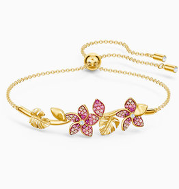 Swarovski Swarovski Tropical Flower Bangle Bracelet, Pink, Gold Tone Plated
