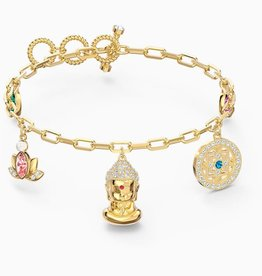 Swarovski Swarovski Symbolic Buddha Bracelet, Light Multi-Coloured, Gold Tone Plated