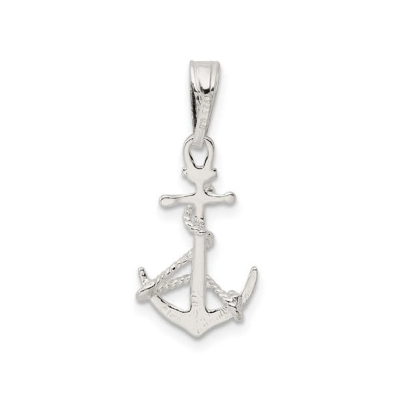 Silver Rhodium Plated Anchor with Rope Charm Pendant