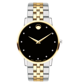 Movado Movado Museum Classic Mens Black Dial with Two Tone Strap