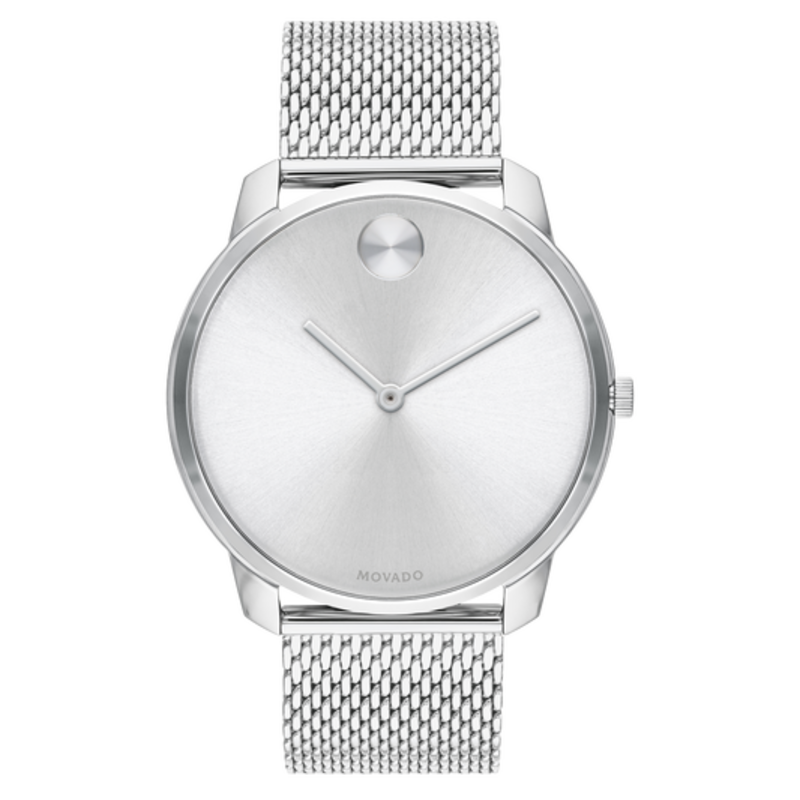 Movado Movado Bold Thin Mens Silver Toned Dial With Mesh Band