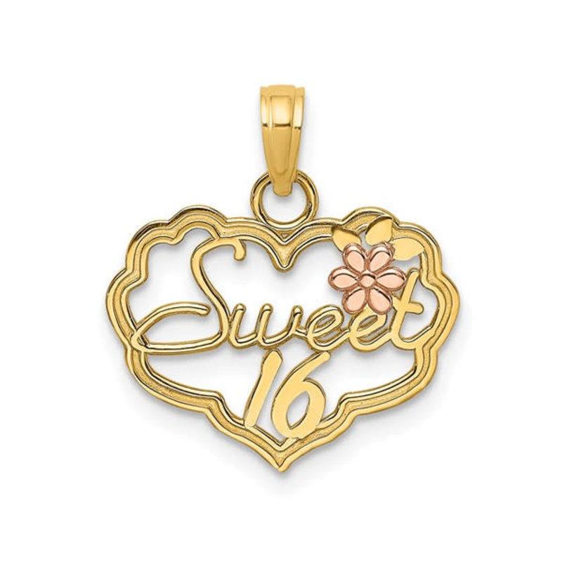 14K Two Tone Sweet 16 Heart Charm Pendant