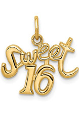 14K Yellow Gold Sweet 16 Script Charm Pendant