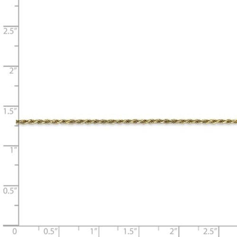 "10K Yellow Gold (1.3mm) Diamond Cut Rope Ankle Bracelet 9.5"""