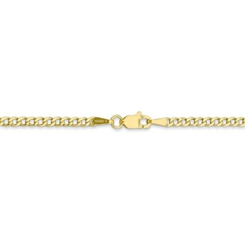 10K Yellow Gold (2.5mm) Semi Solid Curb Ankle Bracelet 10""