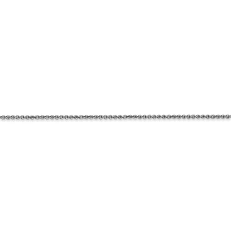 "10K White Gold (1mm) Polished Cable Ankle Bracelet 9"""
