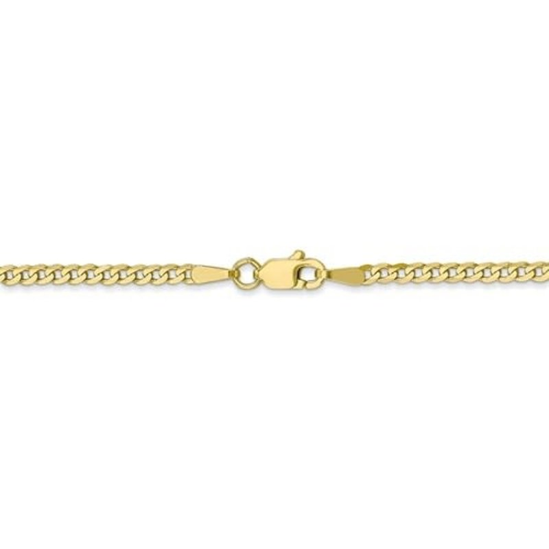 10K Yellow Gold (2.2mm) Flat Beveled Curb Ankle Bracelet (9,10 inches)