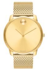Movado Movado Bold Thin Mens Gold Toned Dial With Mesh Band