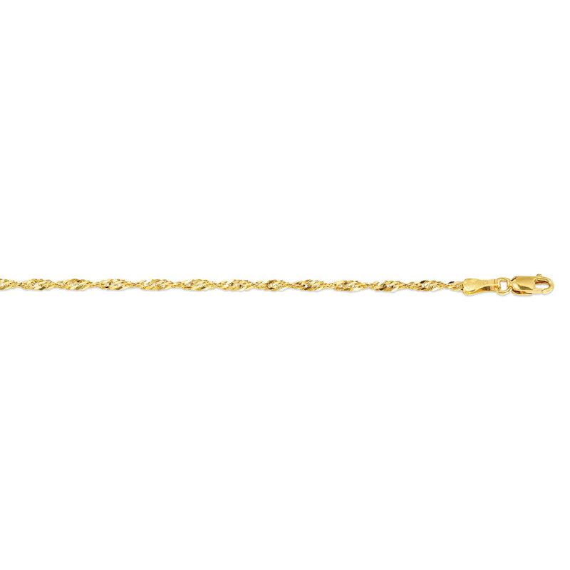 "10K Yellow Gold (2.2mm) Singapore Ankle Bracelet 10"""