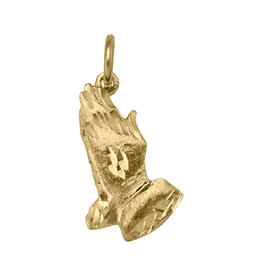 10K Yellow Gold Praying Hands Charm Pendant