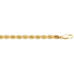 10K Yellow Gold (4mm) Hollow Rope Bracelet 7""