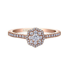 Maple Leaf Diamonds 14K Rose Gold Maple Leaf (0.33ct) Canadian Diamond Double Halo Pink Passion Engagement Ring