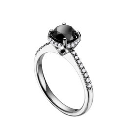 14K White Gold Black Diamond Halo Ring (1.50ct)